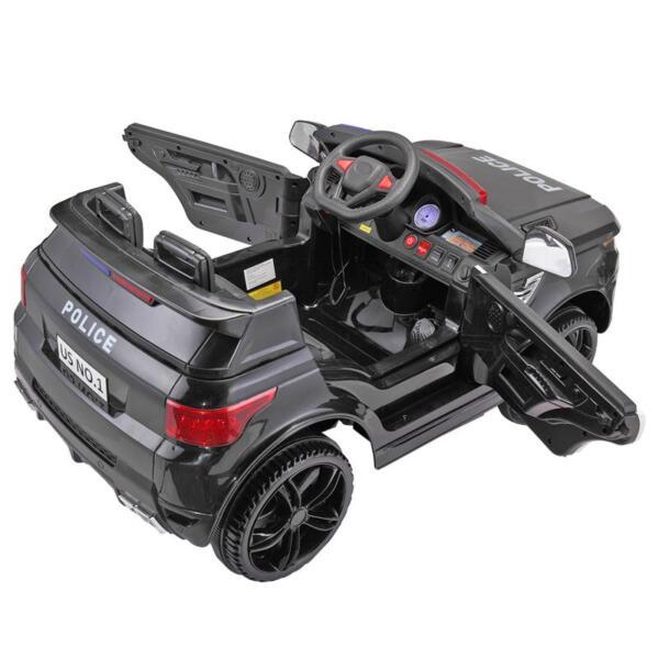 12V Kids Ride On Police Car, Black 12v kids ride on police car black 2
