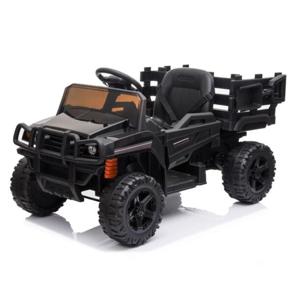 12V Kids Ride on Truck Battery Powered Tractor with Trailer, Black 12v kids ride on truck battery powered tractor with trailer black 0