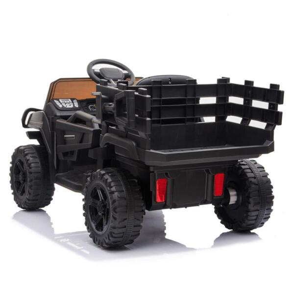 12V Kids Ride on Truck Battery Powered Tractor with Trailer, Black 12v kids ride on truck battery powered tractor with trailer black 11