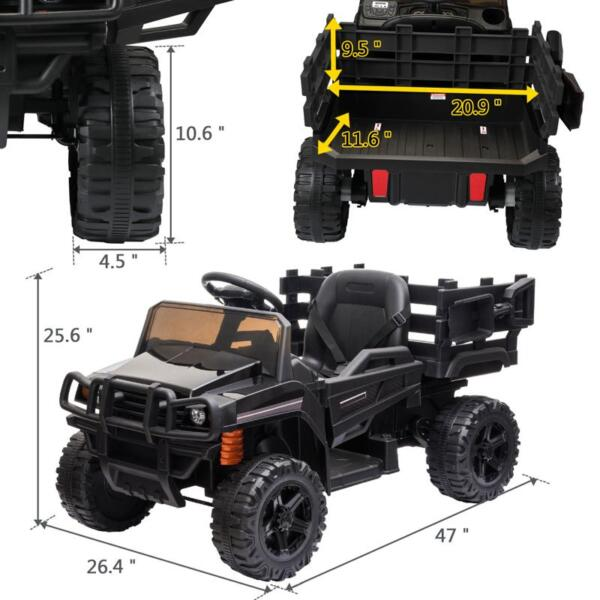 12V Kids Ride on Truck Battery Powered Tractor with Trailer, Black 12v kids ride on truck battery powered tractor with trailer black 14