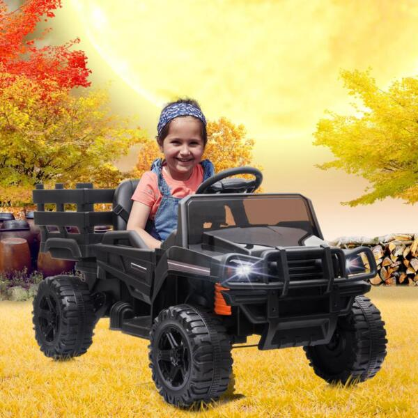 12V Kids Ride on Truck Battery Powered Tractor with Trailer, Black 12v kids ride on truck battery powered tractor with trailer black 17