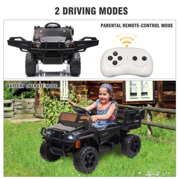 12V Kids Ride on Truck Battery Powered Tractor with Trailer, Black 12v kids ride on truck battery powered tractor with trailer black 28