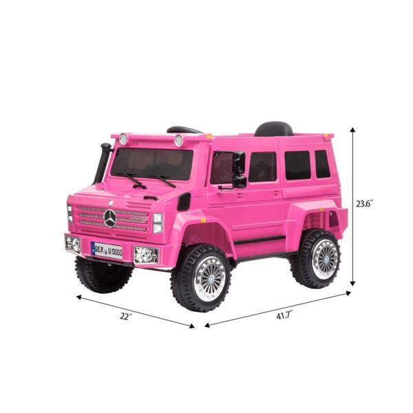 6V Mercedes Benz Unimog U500 Kids Ride on SUV Car with Remote Control, Rose Red 12v mercedes benz unimog u500 rose red 13
