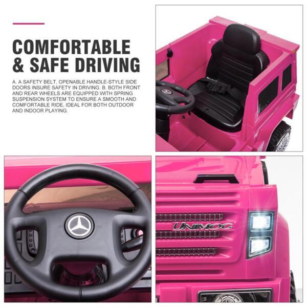 12V Mercedes Benz Unimog U500, Rose Red 12v mercedes benz unimog u500 rose red 32 1