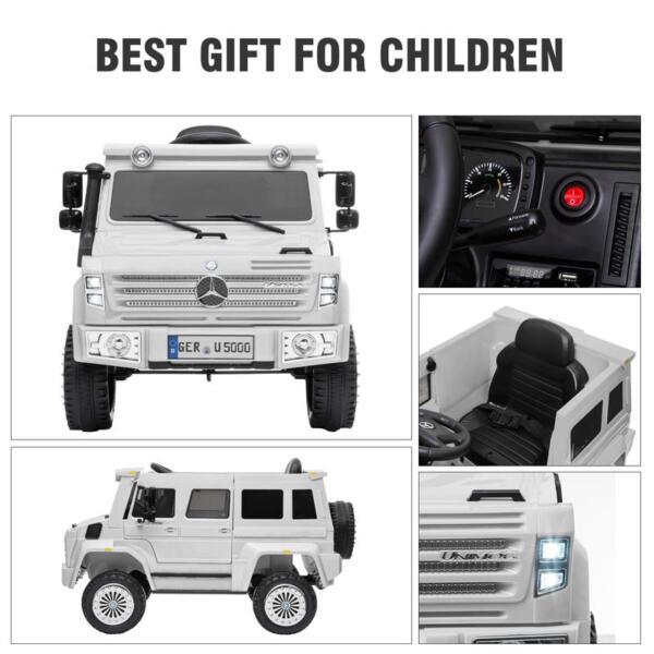 12V Mercedes Benz Unimog U500, White 12v mercedes benz unimog u500 white 29 1