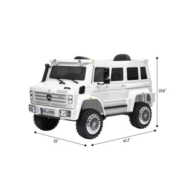 6V Mercedes Benz Unimog U500 Kids Ride on SUV Car with Remote Control, White 12v mercedes benz unimog u500 white 7