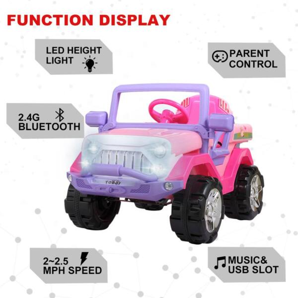 12V Powerful Kids Electric SUV, Pink 12v powerful kids electric suv pink 10 1