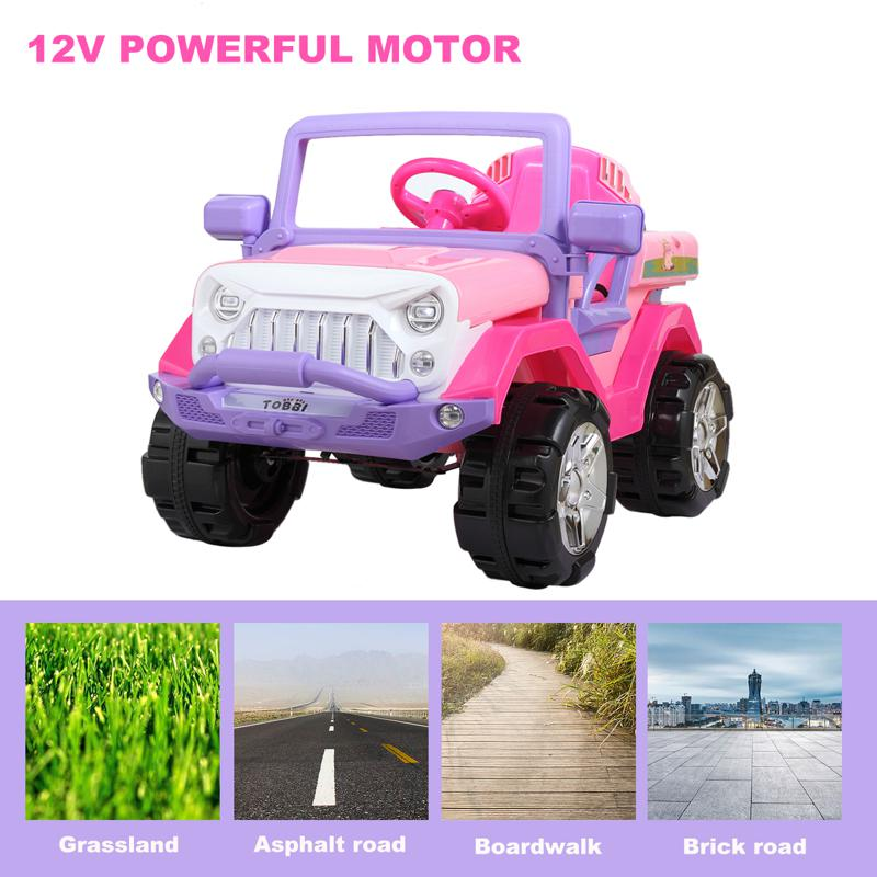 12V Ride-On SUV Toy Car for Toddlers 12v powerful kids electric suv pink 17 2