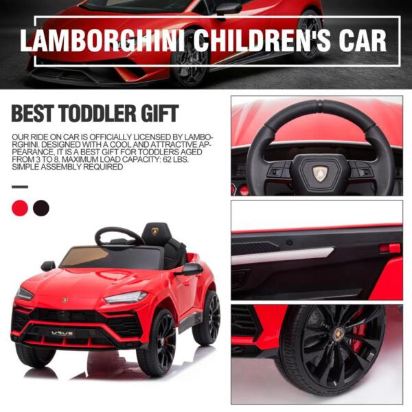 12V Lamborghini Ride On Car With Remote Control, Red 12v remote control kids electric police car red 42 2