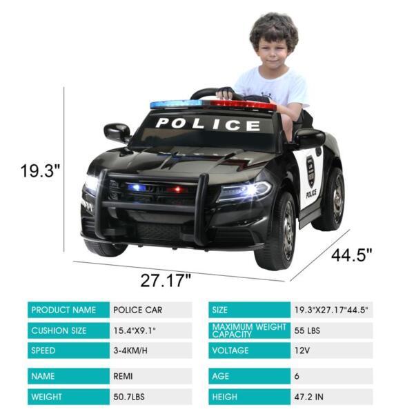 12v Remote Control Kids Electric Police Car,Black 12v remote control kids electric police carblack 13