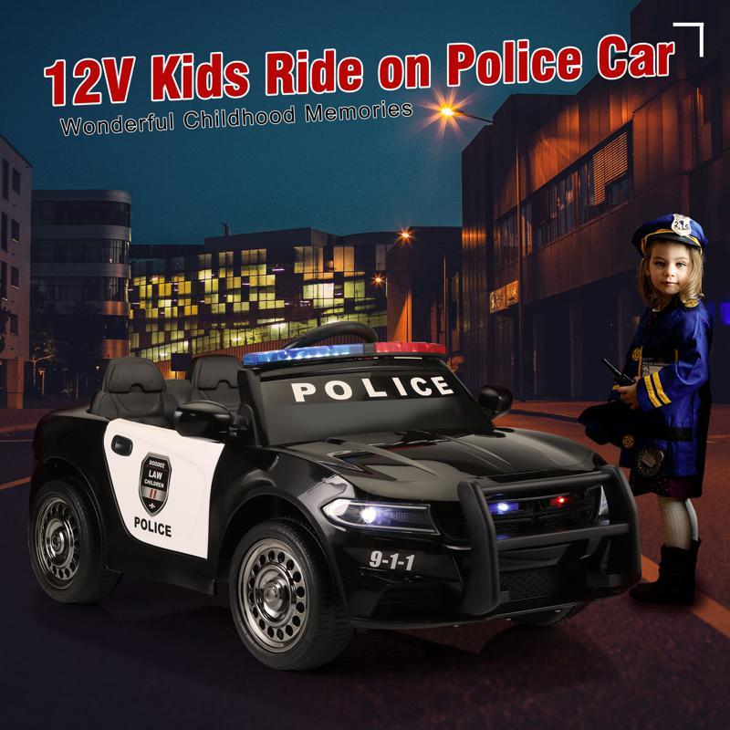 12V Kids Electric Police Car W/ RC, Black 12v remote control kids electric police carblack 15 1