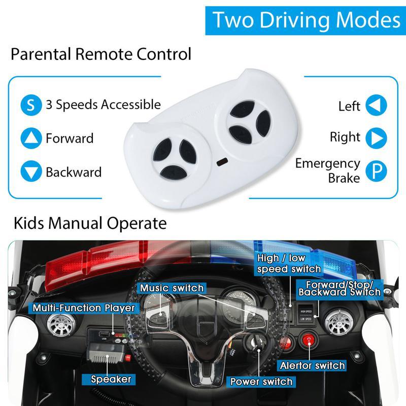 12V Kids Electric Police Car W/ RC, Black 12v remote control kids electric police carblack 26 1