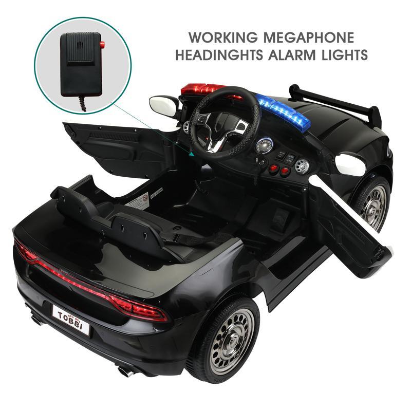 12V Kids Electric Police Car W/ RC, Black 12v remote control kids electric police carblack 28 1