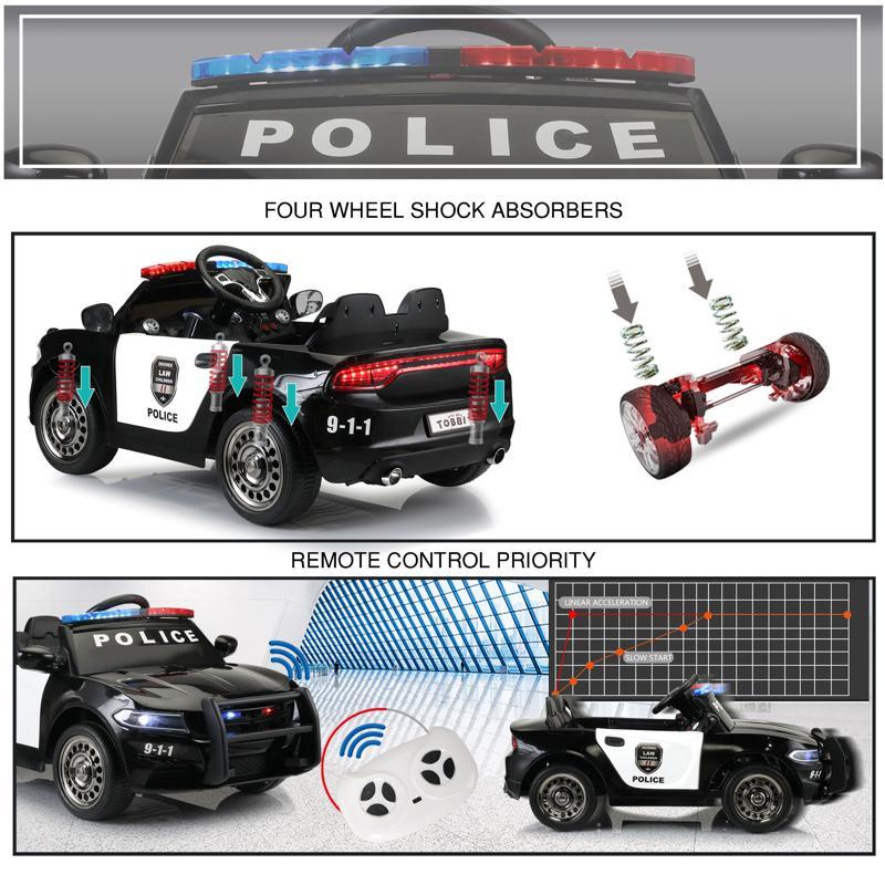 12V Kids Electric Police Car W/ RC, Black 12v remote control kids electric police carblack 30 1