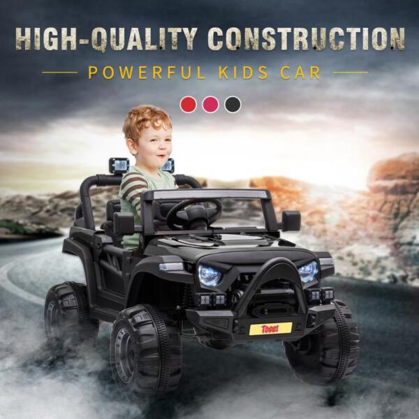 12v Remote Control Kids Ride On Truck, Black 12v remote control kids ride on truck black 13 1