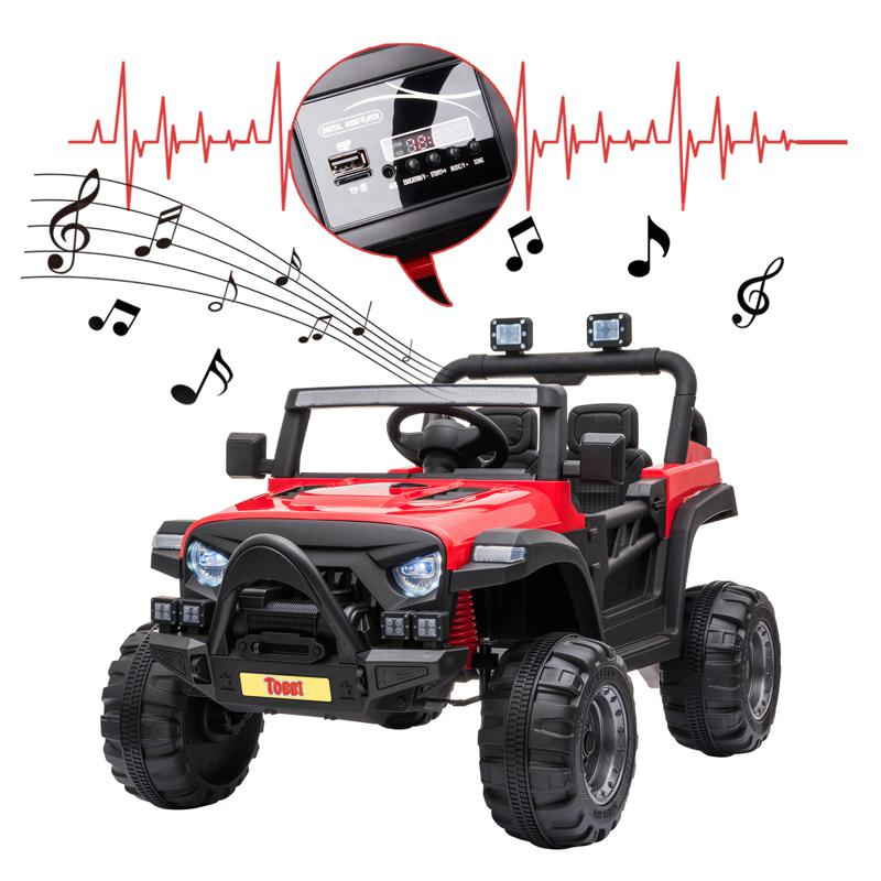 Red Kids Truck Ride On Battery Powered Car Toy 12v remote control kids ride on truck red 27 2
