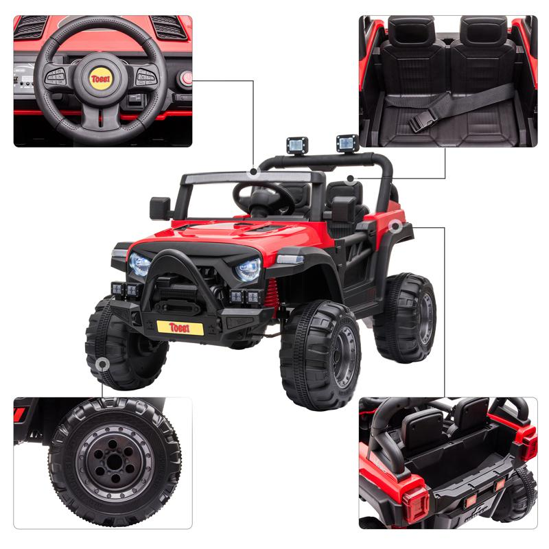 Red Kids Truck Ride On Battery Powered Car Toy 12v remote control kids ride on truck red 33 2