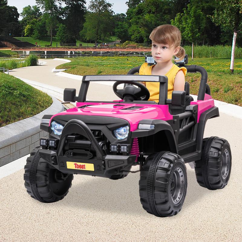 RC Toy Trucks for Kids 2 Seater Ride On Car 12v remote control kids ride on truck rose red 11