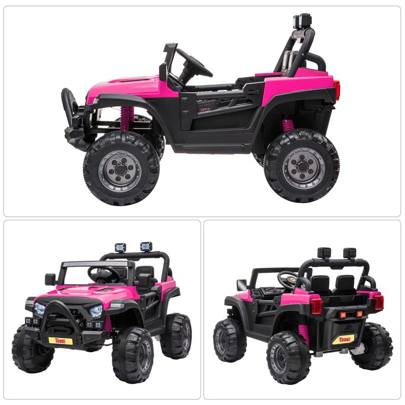 RC Toy Trucks for Kids 2 Seater Ride On Car 12v remote control kids ride on truck rose red 26