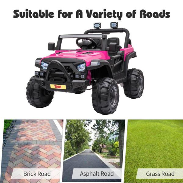 RC Toy Trucks for Kids 2 Seater Ride On Car 12v remote control kids ride on truck rose red 28