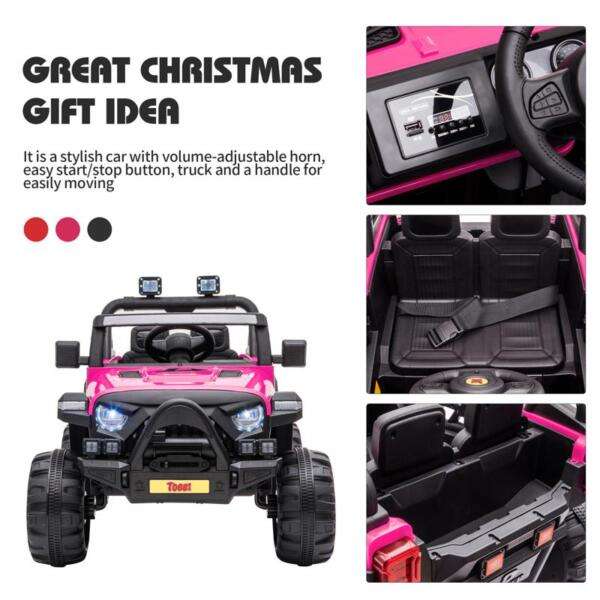 RC Toy Trucks for Kids 2 Seater Ride On Car 12v remote control kids ride on truck rose red 31