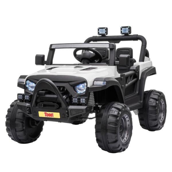 12v Remote Control Kids Ride On Truck, White 12v remote control kids ride on truck white 1