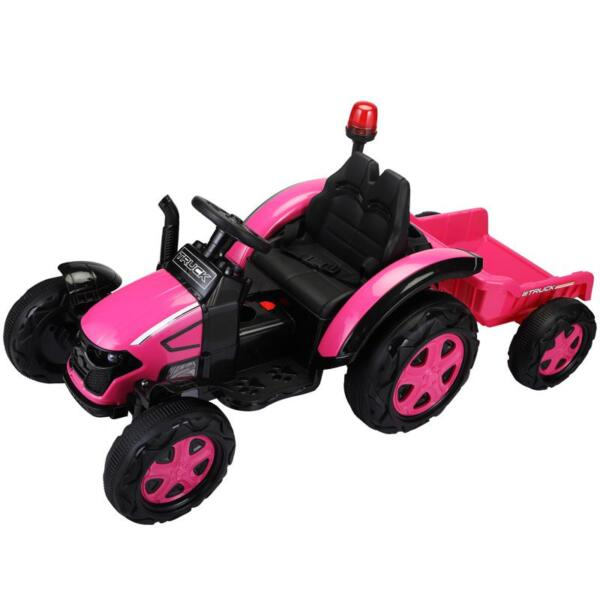 12V Kids Electric Ride On Tractor with Big Scoop, Rose Red 12v ride on tractor for kids rose red 11