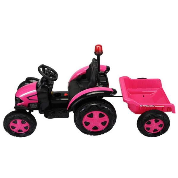 12V Kids Electric Ride On Tractor with Big Scoop, Rose Red 12v ride on tractor for kids rose red 12