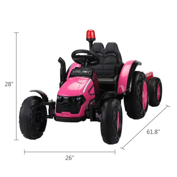 12V Kids Electric Ride On Tractor with Big Scoop, Rose Red 12v ride on tractor for kids rose red 14