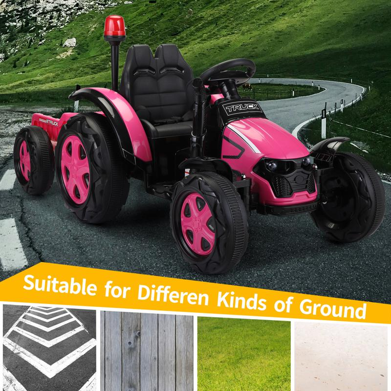 12V Kids Electric Ride On Tractor with Big Scoop, Rose Red 12v ride on tractor for kids rose red 16 2