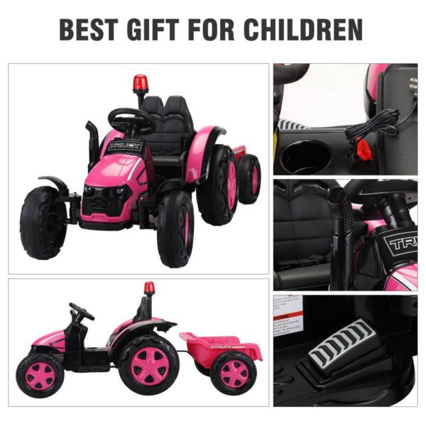 12V Kids Electric Ride On Tractor with Big Scoop, Rose Red 12v ride on tractor for kids rose red 22