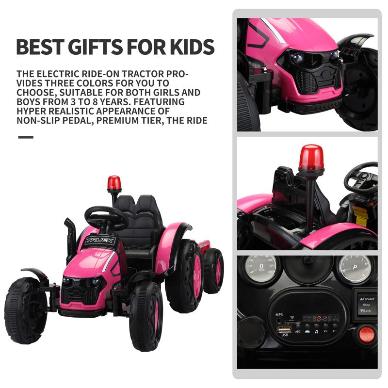 12V Kids Electric Ride On Tractor with Big Scoop, Rose Red 12v ride on tractor for kids rose red 23 1