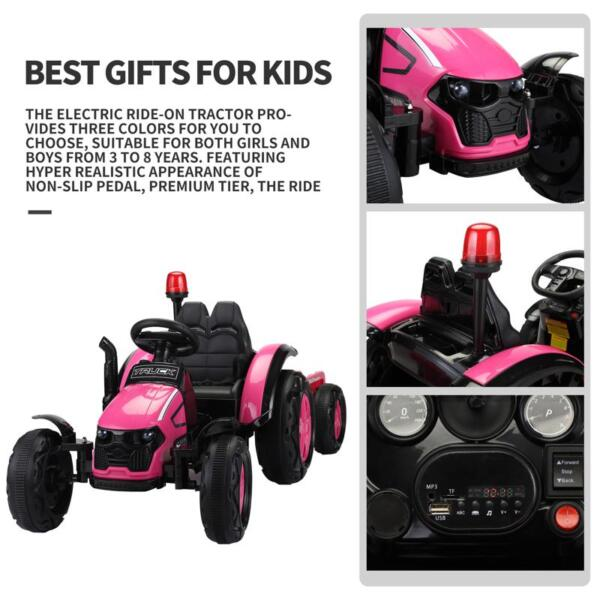 12V Kids Electric Ride On Tractor with Big Scoop, Rose Red 12v ride on tractor for kids rose red 23