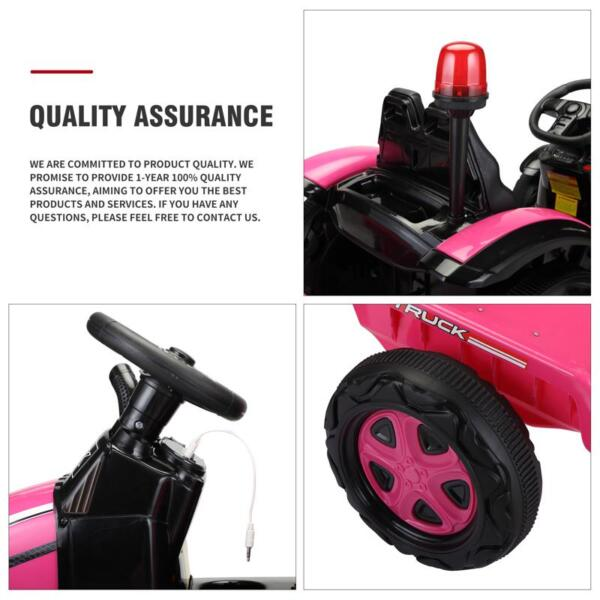 12V Kids Electric Ride On Tractor with Big Scoop, Rose Red 12v ride on tractor for kids rose red 31