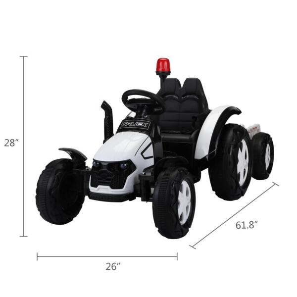 12v Ride on Tractor for Kids, White 12v ride on tractor for kids white 0