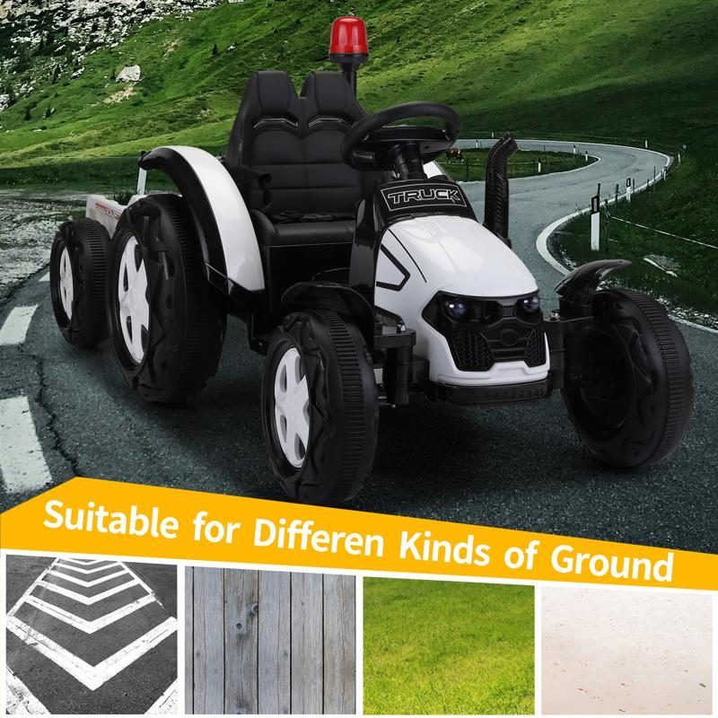 12V Kids Electric Ride On Tractor with Big Scoop, White 12v ride on tractor for kids white 2 1