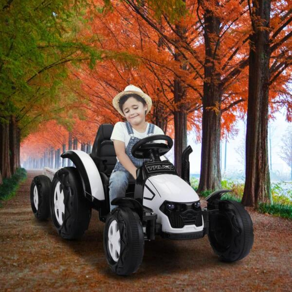 12v Ride on Tractor for Kids, White 12v ride on tractor for kids white 6