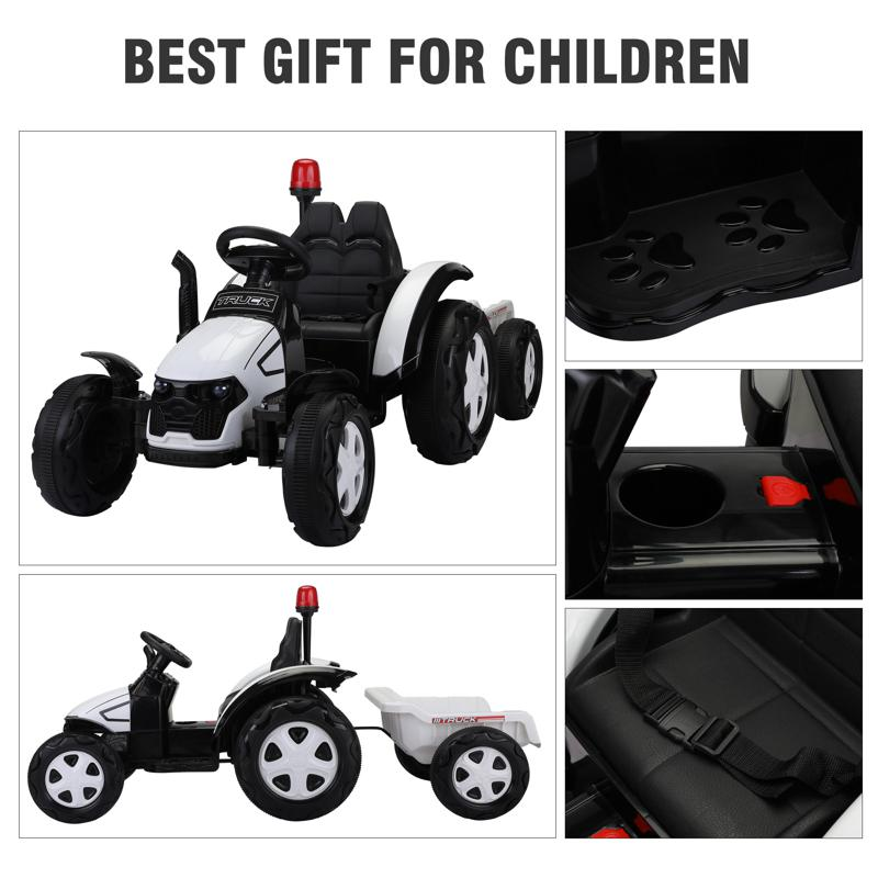 12V Kids Electric Ride On Tractor with Big Scoop, White 12v ride on tractor for kids white 8 1