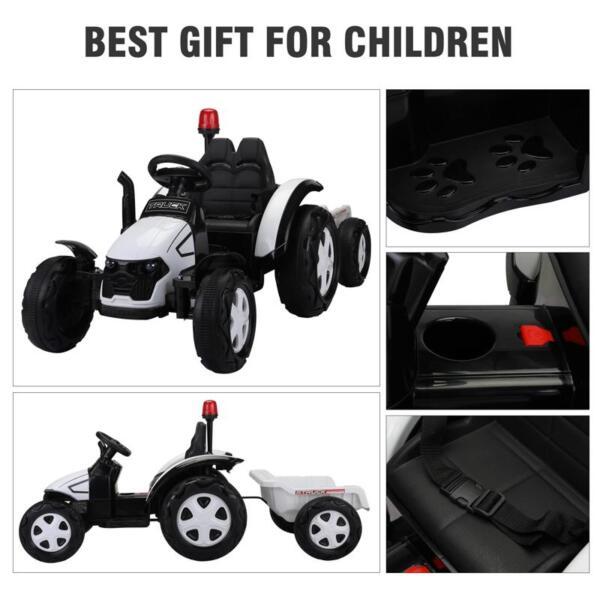12v Ride on Tractor for Kids, White 12v ride on tractor for kids white 8