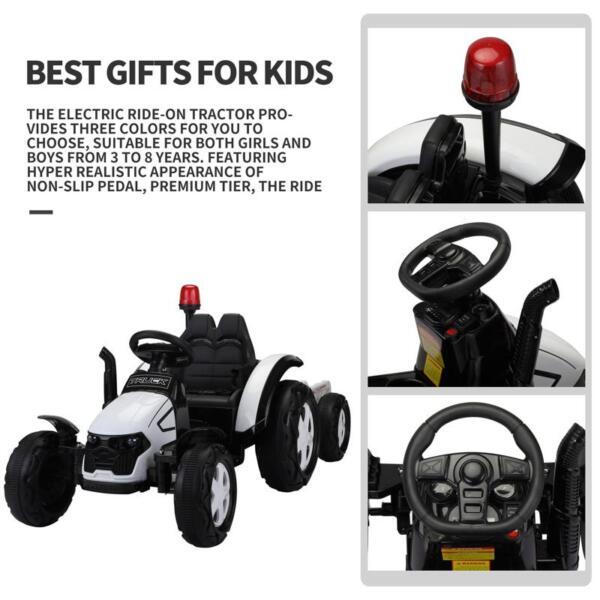 12v Ride on Tractor for Kids, White 12v ride on tractor for kids white 9