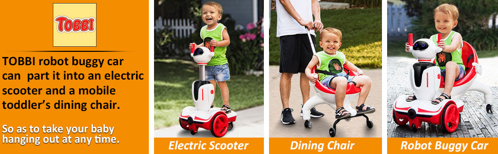 Three-in-one Robot Kids Electric Buggy With Baby Carriages, Red + White 13 1