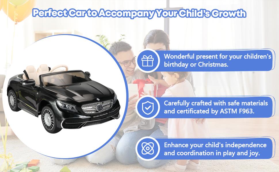 12V Mercedes Kids Ride on Car with Remote Conrtol, Black 13 11