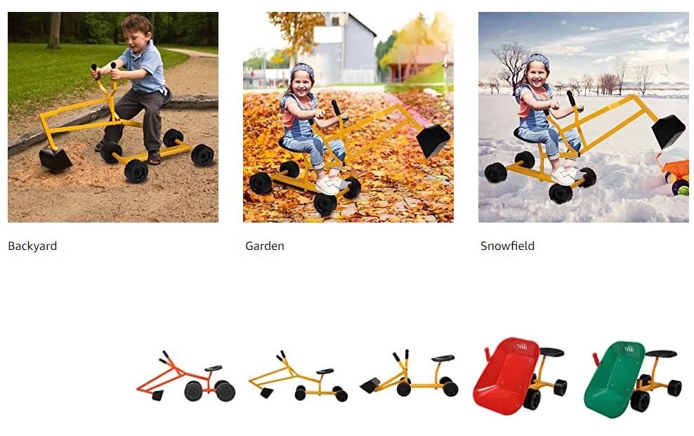 Kids Ride On Sandbox Digger Toys Little Sandbox Excavator for Boys and Girls, Yellow 13 2