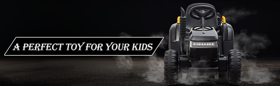 12V Electric Kids Ride-On Tractor with Trailer, Black 13 21