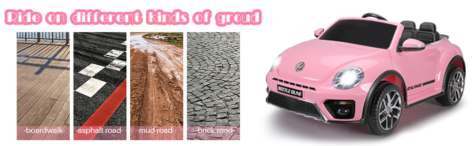 12V Licensed Volkswagen Beetle Dune Kids Electric Car with Remote Control, Pink 13 8