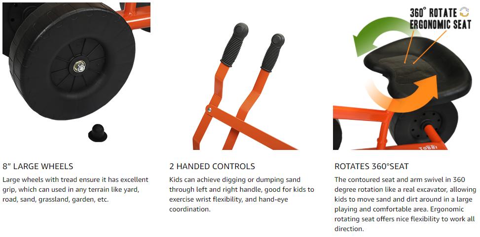 Kids Ride On Sandbox Digger Toys Little Sandbox Excavator for Boys and Girls, Orange 14 1