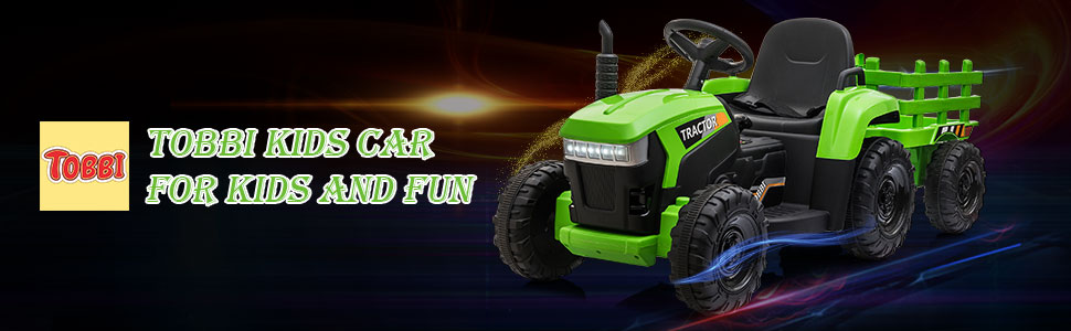 12V Electric Kids Ride-On Tractor with Trailer, Green 14 15