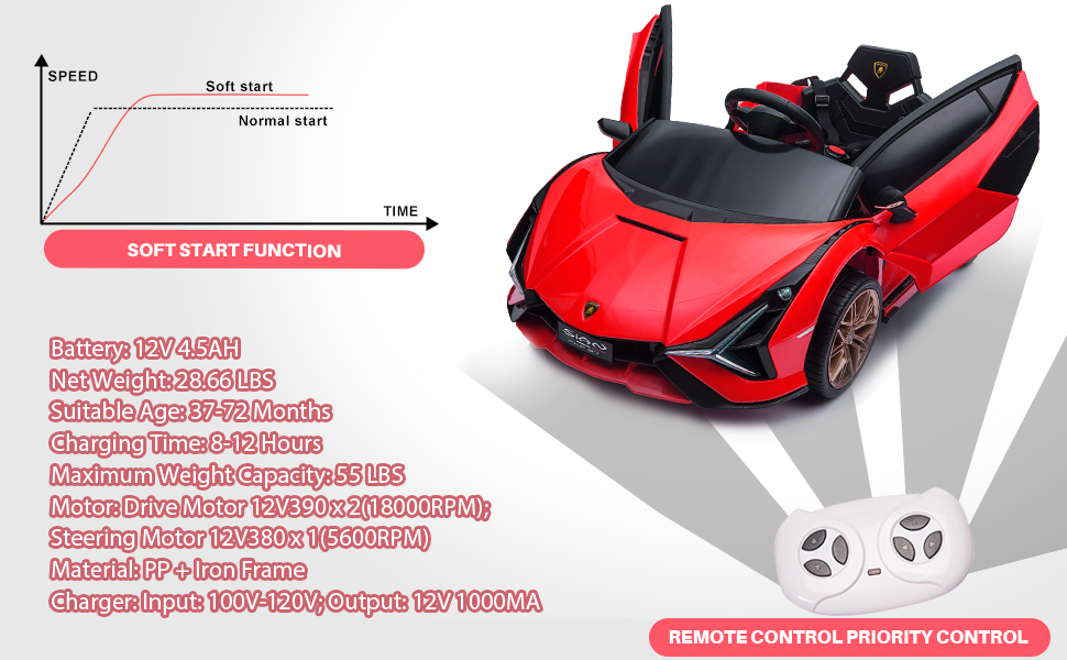 12V Lamborghini Sian Electric Kids Ride On Car with Remote Control, Red 14 2