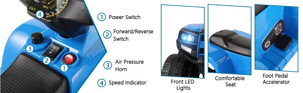 Four Wheeler Electirc Ride On Quad ATV For Kids, Blue 14 3 2