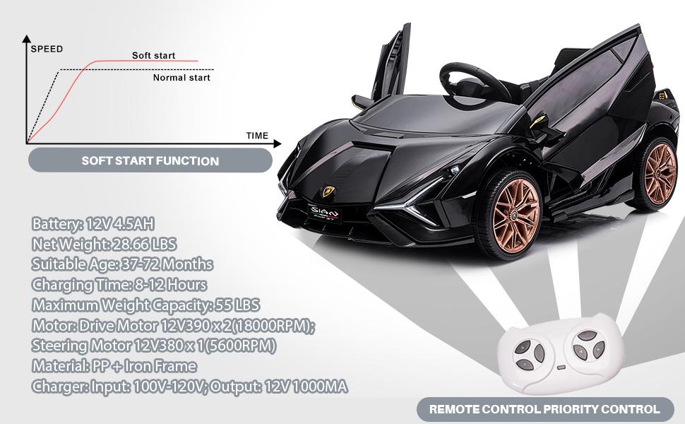 12V Lamborghini Sian Ride on Kids Electric Car with Remote Control, Black 14 3